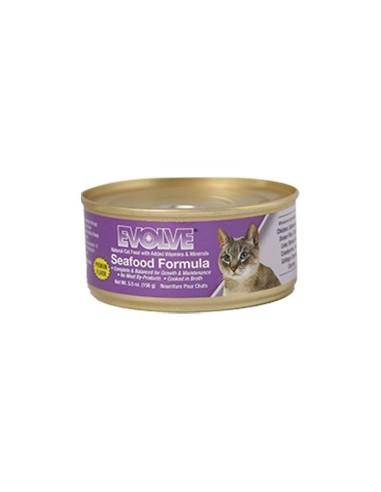 EVOLVE HUMEDOS SEAFOOD CAT FOOD (Para todas las edades - Lata tipo pate – Pescado Oceanico. Y Salmon )